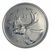 Canada 25 cents quarter coin, CARIBOU, Old Effigy, 2002