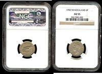 New Zealand 6 pence 1950 NGC AU50