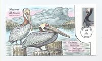 US COLLINS HAND PAINTED FDC SC# 3774 BROWN PELICAN 2003