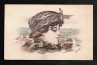 Vintage Postcard: 'Woman's Head above Waves' (1908 - Shinn) Postmarked 1911
