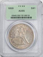 1859 $1 AU55 PCGS