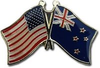 4 USA - NEW ZEALAND FRIENDSHIP CROSSED FLAGS LAPEL PINS - NEW - COUNTRY PIN