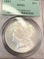 1887 Morgan Silver Dollar PCGS MS65 Blast White Beauty OGH CHN