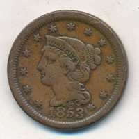 1853 BRAIDED HAIR LARGE CENT-A NICE CIRCULATED LARGE CENT-SHIPS FREE! INV:4