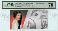 2018 SILVER STAR WARS PRINCESS LEIA - 5 GRAM COIN NOTE - PMG 70 FIRST RELEASES