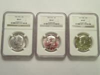 Lot of 3 Silver SMS Kennedy Half Dollars, 1965,1966, 1967, all NGC MS67
