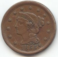 1855 Knob on Earl Braided Hair Large Cent, N-9, XF Details