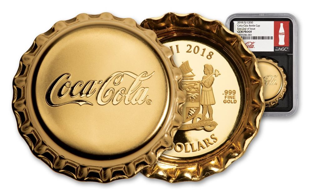2018 FJ Proof 2018 Fiji Coca-Cola Bottle Cap-Shaped 6 g Silver Colorized Proof $1 Coin GEM Proof in its Original Government Packaging $1 Proof DCAM