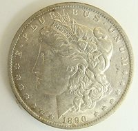 1890 O VAM 20 DOUBLED EAR HI GRADE MORGAN SILVER DOLLAR, FREE SHIPPING