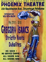 MHP 32B Maritime Hall - 1997 poster Gregory Isaacs, Strictly Roots San Fran 1st