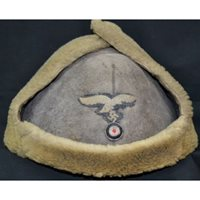 Luftwaffe Winter Gray Sheepskin Hat Pelzmutze