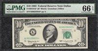 *DALLAS STAR* 1963 $10 Federal Reserve Note - PMG Gem Uncirculated CU 66EPQ C2C