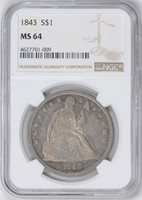 1843 LIBERTY SEATED S$1, NO MOTTO MS64