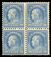 United States1910-301917-19 20c light ultramarine, block of four, top stamps hinged, bottom never hinged