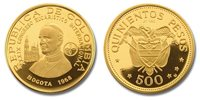 Colombia 1968 Pope Paul VI 500 Pesos Gold Proof