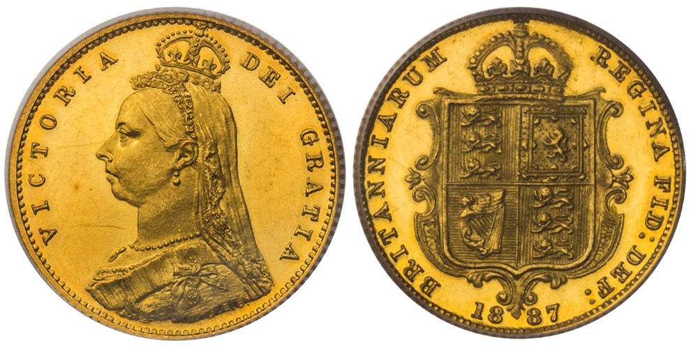 GREAT BRITAIN  Victoria  (Queen, 1837-1901)  1887 AV Half-Sovereign  PCGS  PR63DCAM (Deep Cameo)  VICTORIA DEI GRATIA  Jubilee head, bust left wearing