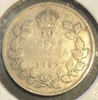 1936 ~ CANADA ~ 10 CENTS ~ GEORGE V ~ VG8 Condition