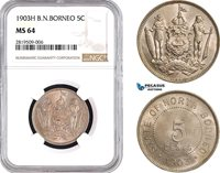 AB659, British North Borneo, 5 Cents 1903-H, Heaton, NGC MS64