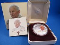 2005 1OZ COOK ISLANDS $1 SILVER PROOF COIN. COMPLETE + COA POPE JOHN PAUL II