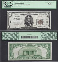 $5 1929 Ty I NBN=WATERVILLE (ME)=CH.880 E000001=SN# 1=PCGS CH. ABOUT NEW 58