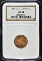 1858 Small Letters Cent NGC MS64 Flying Eagle
