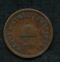 HUNGARY, 1903, 2 FILLER, COPPER, BETTER DATE, VERY FINE, Y#24