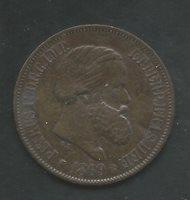 BRAZIL, 1869, 20 REIS, BRONZE, CHOICE EXTRA FINE, KM#474