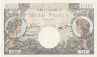 Frankreich 1000 Francs Commerce and Industry 06-07-1944 Serial A 3620 Au