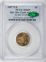 1857 Flying Eagle Cent PCGS MS-65+ Obverse Die Clash with 50C, FS-402, S-9, CAC CAC