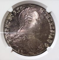 1780 - Dated Austria Taler - Silver Modern Restrike NGC MS 67