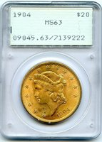 C12650- 1904 GOLD $20 LIBERTY DOUBLE EAGLE PCGS MS63 RATTLER - PQ COIN!