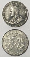 1924 ~ CANADA ~ 5 CENTS ~ GEORGE V ~ VG8 condition