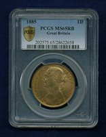 GREAT BRITAIN VICTORIA 1885 PENNY, GEM UNCIRCULATED, CERTIFIED PCGS MS65-RB