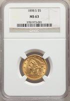 1898-S $5 MS63 NGC. Pop (52/44), CDN Collector Price