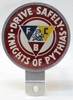 older KNIGHTS OF PYTHIAS DRIVE SAFELY reflective license plate topper attachment