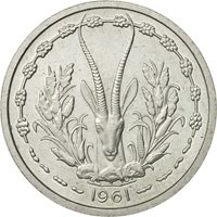 West African States, Franc, 1961, MS(65-70), Aluminum, KM:E3