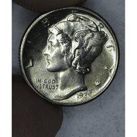 10c Cent Dime 1939 D MS63 bright lt tone