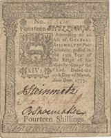 Fr. No.PA-161 Pennsylvania Mar. 20, 1773 14s The margins are not cut square to the design, but they are full and complete; as such, the centering is good and cleanliness of the surfaces are consistent with the grade, with printing by Hall and Sellers XF+