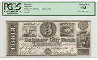 Michigan Obsolete - Saginaw - Saginaw City Bank - $3 - 1837 - PCGS 63