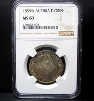 1859-A AUSTRIA 1 FLORIN ✪ NGC MS-63 ✪ 1FL UNCIRCULATED L@@K NOW UNC BU ◢TRUSTED◣