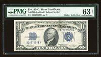 DBR 1934-C $10 Silver Fr. 1704 PMG 63 EPQ Serial B25275658A