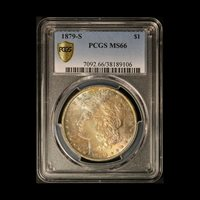 1879-S $1 Morgan Silver Dollar with Toning PCGS MS 66 - Free Shipping USA