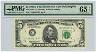 Fr. 1970-C $5 1969A Federal Reserve Note Philadelphia 65 EPQ PMG #DC-1963