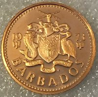 1973 BARBADOS  1 CENT COIN PROOF BU UNC , free combined shipping