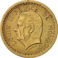 Monaco, Louis II, 2 Francs,1945,AU(50-53),Aluminum-Bronze,KM:121a,Gadoury MC134
