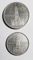 1st Anniv. 3rd Reich Rule Potsdam Church 2 & 5 Mark 1934 GERMANY Ag VF 2 Pc Lot