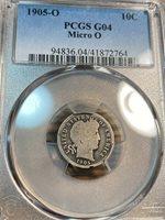 1905-O Micro O Barber Dime PCGS G4 Scratch-Free Holder Best Price on Ebay CHN