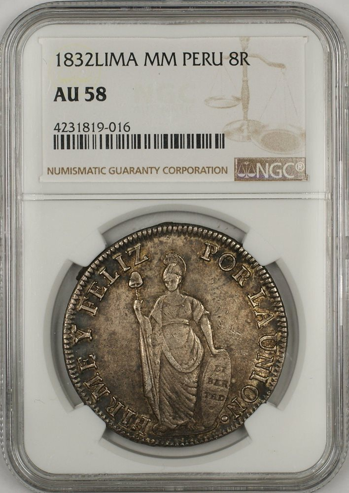 1832 Lima MM Peru 8 Reales Silver Coin NGC AU 58