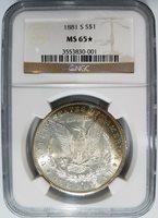 1881 S Silver Morgan Dollar NGC MS 65 Star Monster Rainbow Crescent Toned Toning