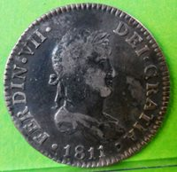 Very weak FERNANDO VII 2 REALES 1811 CADIZ -CI- Silver SPANISH SPAIN